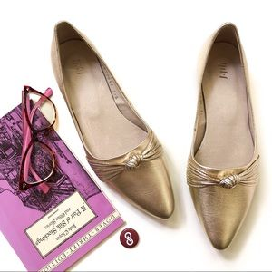 J. Jill Gold Leather Pointed Toe Flats